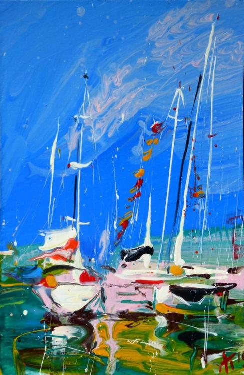 yachts. original painting 20x30 cm - Image 0