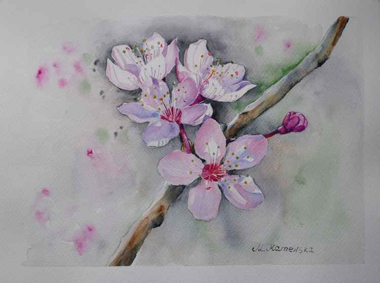 Original one of a kind watercolor artwork - Blooming tree branch