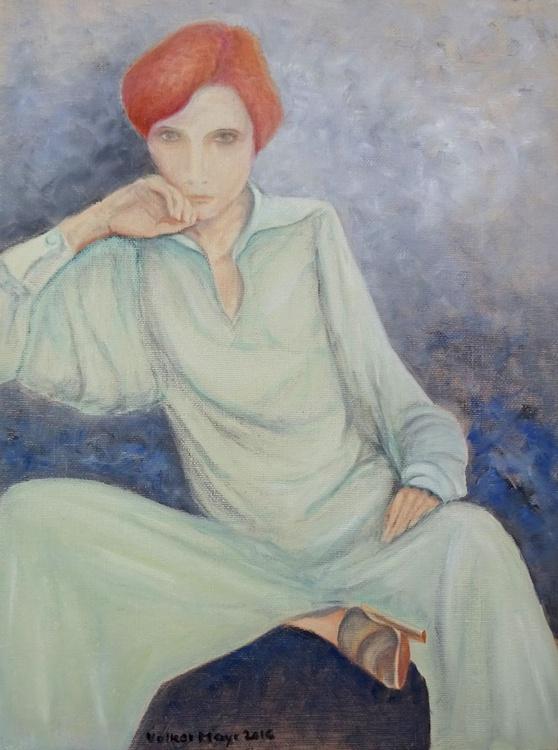 The Lady has the blues - Ölbild 30 x 40 cm - Image 0