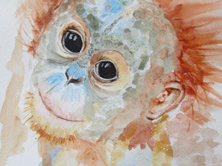 """BAD HAIR DAY"", Monkey Primate Orangutan Pet Portrait original watercolour painting - Image 0"