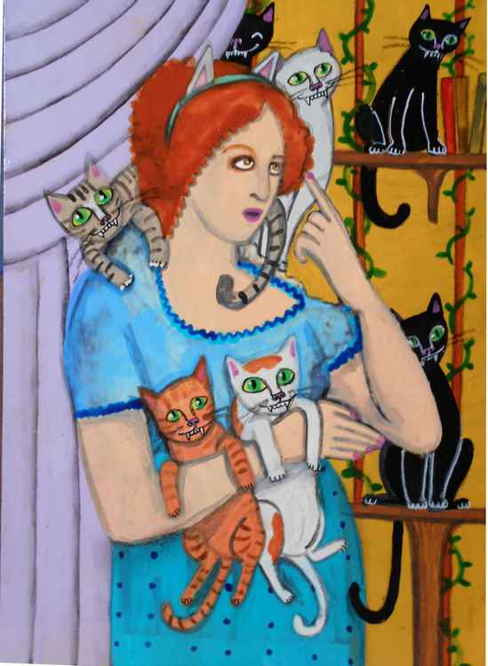 I Tell Myself I Can Adopt Just One More Cat Gouache Original Painting -