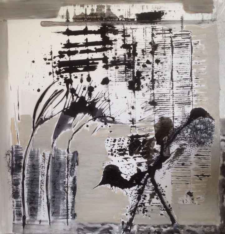 Abstract birds & flowers acrylic,ink & mixed media 100x100 -