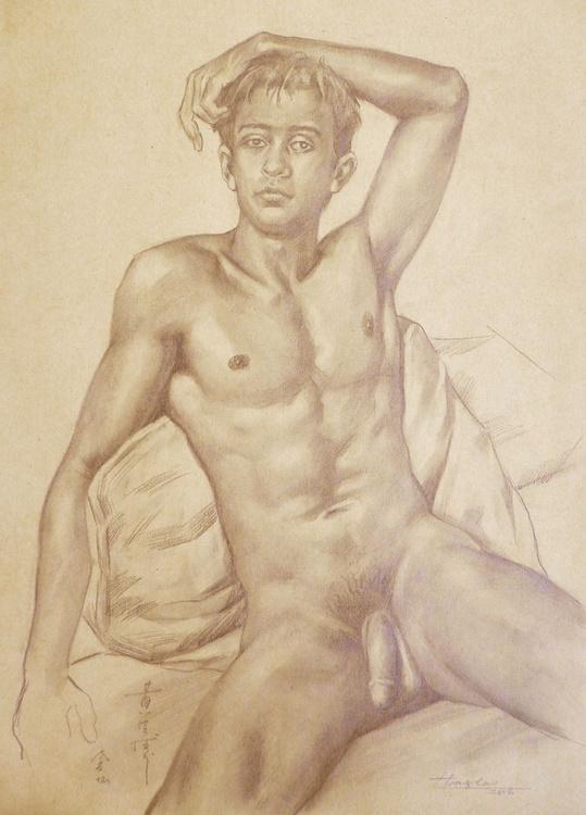 ORIGINAL DRAWING  PENCIL  ART MALE NUDE MAN ON BROWN PAPER#16-6-16 - Image 0