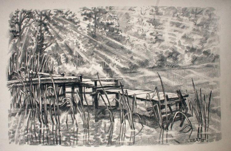 Lake. Drawing. - Image 0