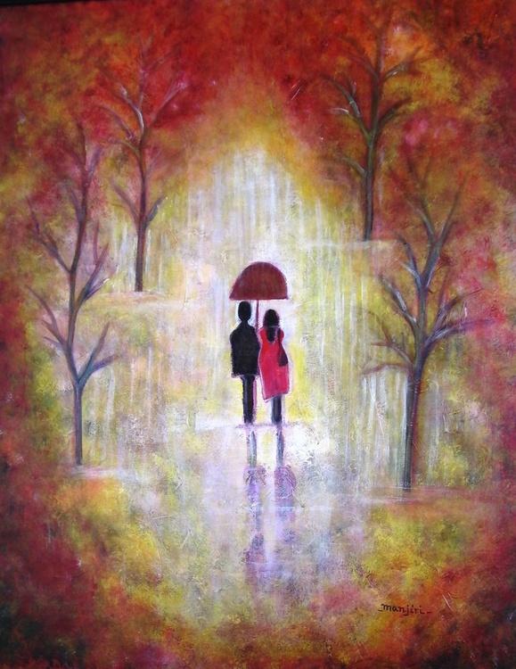 Autumn Romance a vibrant romantic painting - Image 0