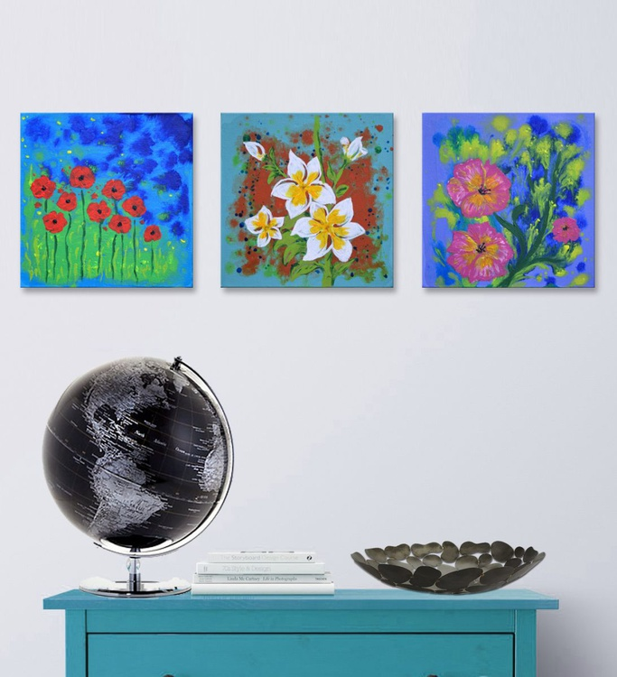 "Triptych Flowers"" -  Deep Edge Canvases Ready To Hang - Image 0"