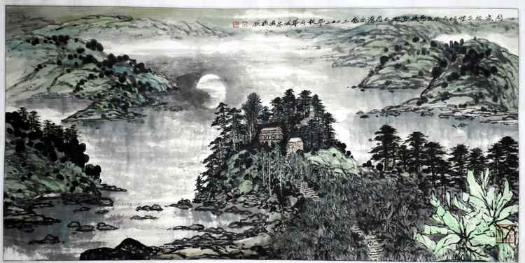 Chinese watercolour Landscape paining, with heavy colour-51 -