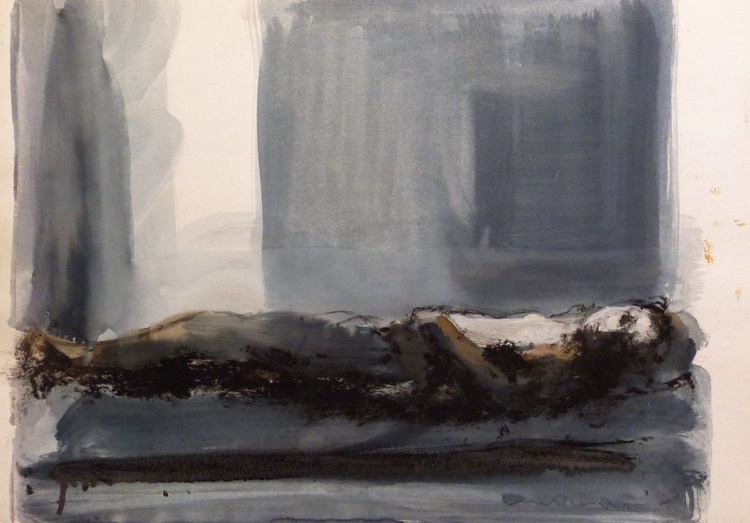 Woman lying on the Bed 63x45 cm - Image 0