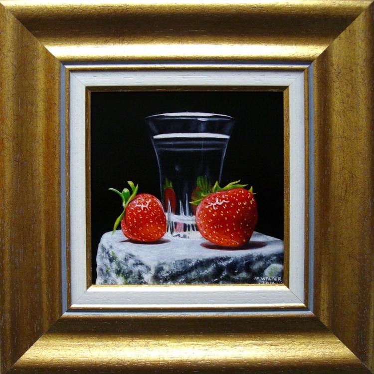 2 strawberries on white stone - Image 0