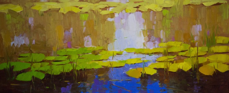 Water lilies Original oil Painting  Handmade artwork - Image 0
