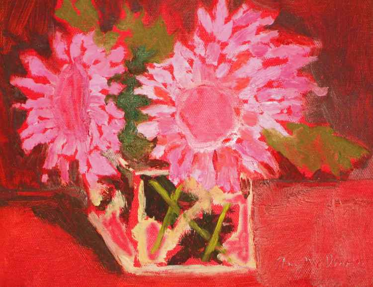 Red Flowers in Square Glass Vase -