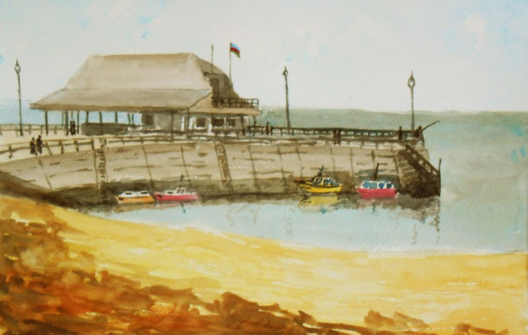 Broadstairs Jetty and Harbour. Large original Watercolour Painting. A Lovely Gift! - Image 0