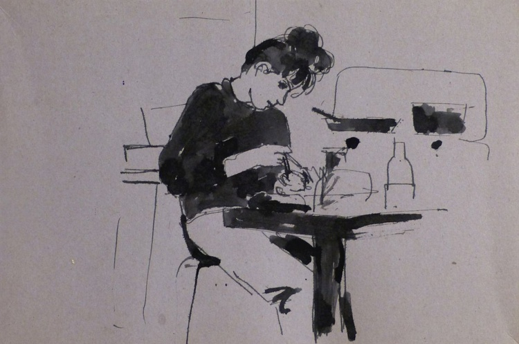 Eating with the chopsticks, double drawing 34x23 cm - Image 0