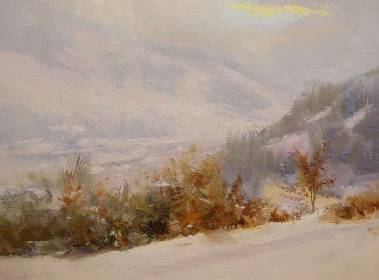 """Snowy landscape painting  """" Drop of Sun """" (395l15) - Image 0"""
