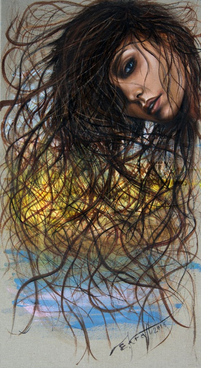 """""""Sun in your hair lace"""", original acrylic painting, 50x90 cm, ready to hang - Image 0"""
