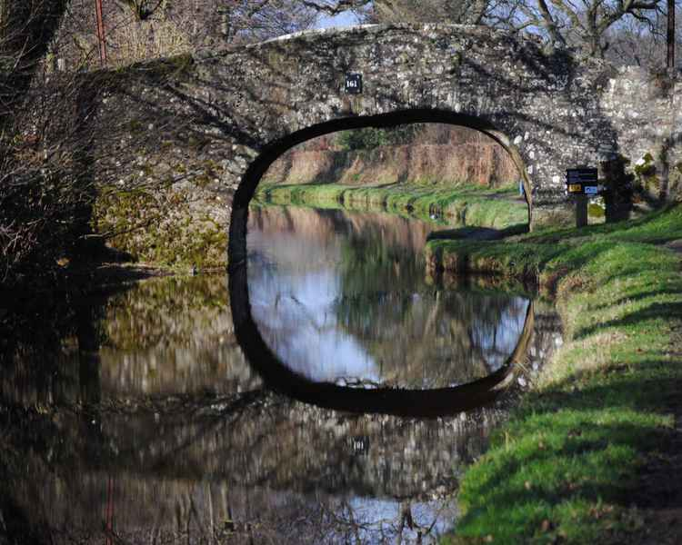 British Canal Bridge Print – Limited Edition Architectural Travel Photograph Reflected Canal Bridge in English Countryside