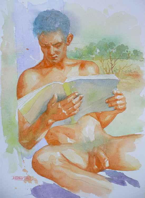 original art watercolour painting male nude man reading book on paper #16-4-25-07