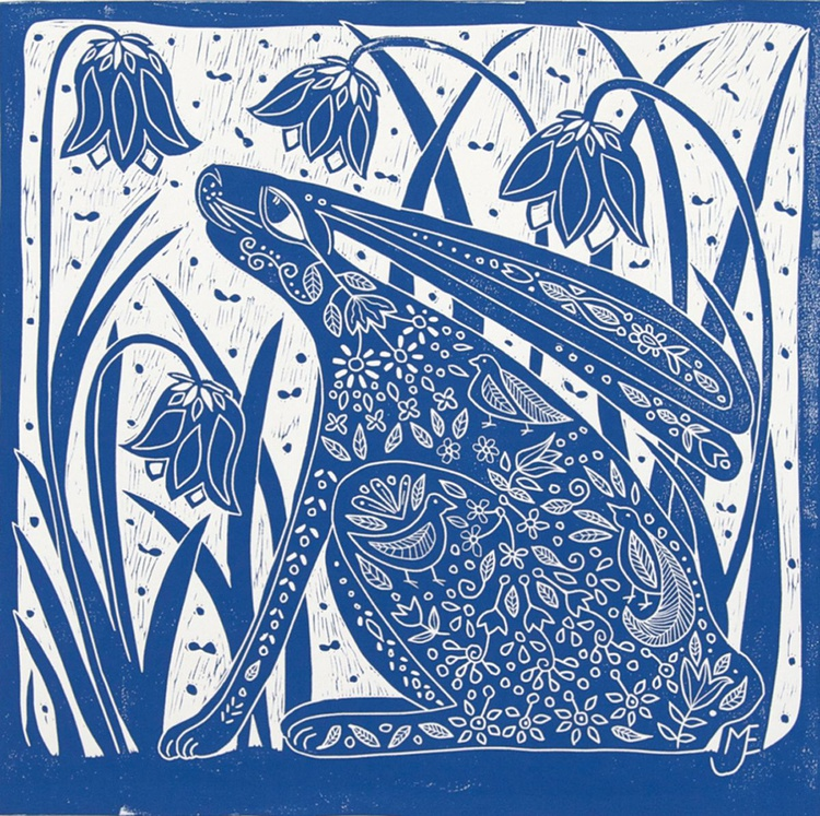Hare and Bluebells, linocut - Image 0