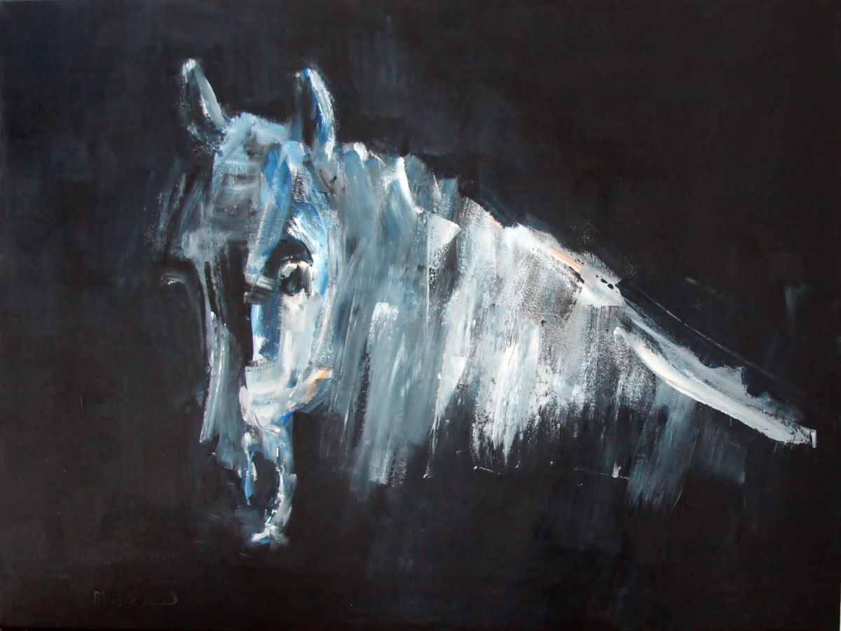 Black background white horse 2016 acrylic painting by for Acrylic painting on black background