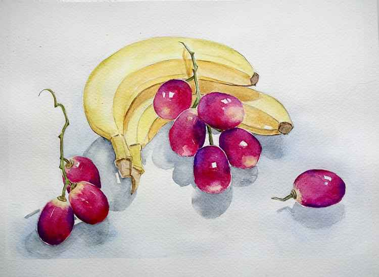 Still life with bananas and grapes
