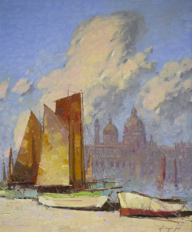 Venice and Harbor Handmade oil Painting on Canvas One of a Kind Signed - Image 0