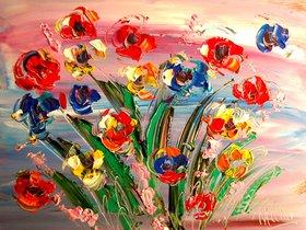 Wild Flowers Modern Abstract  ART  LISTED BY MARK KAZAV LARGE CANVAS Original Oil by Mark  Kazav