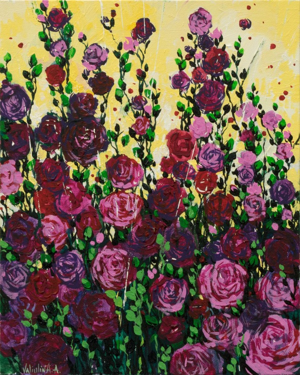 Magenta Roses Flowers Painting - Image 0