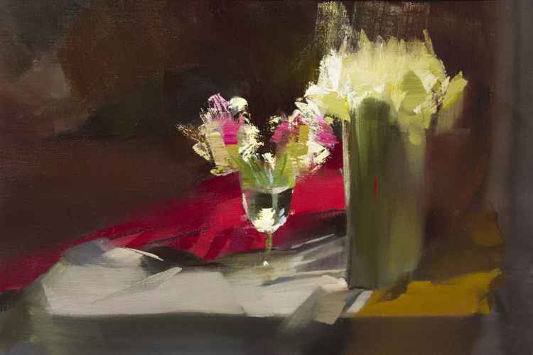 Oil modern painting still life - In their Shades -