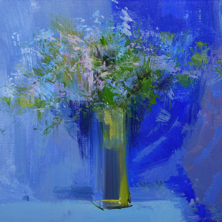 "Cobalt blue painting  "" late green "" (109sl15) - Image 0"