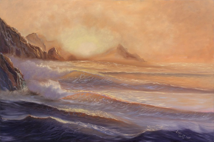 """Ocean View"" Large Seascape Painting, Realistic Ocean Art, XL Oil Painting on Canvas, Golden Sunset Sea Painting, - Image 0"