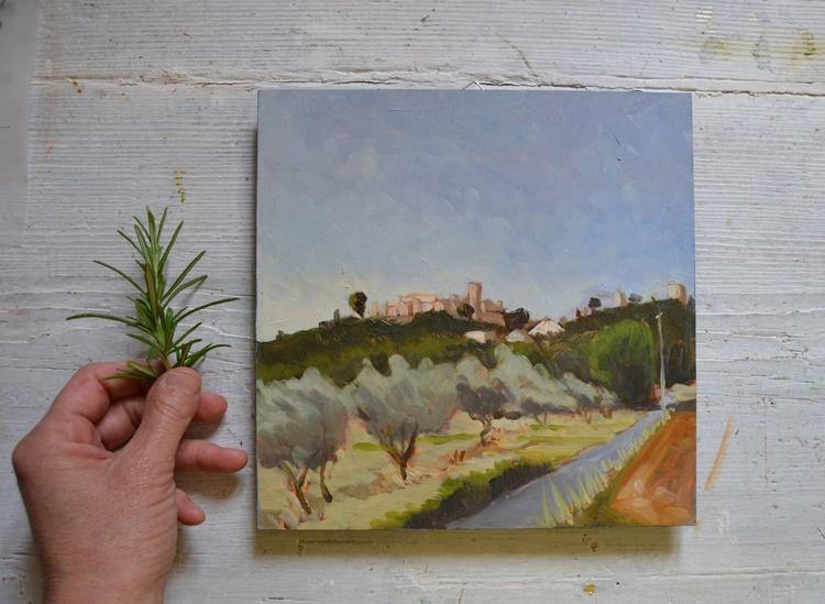 The Road Below Porchiano del Monte Umbria Plein Air Landscape Oil Painting - Image 0