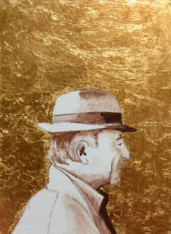 Golden Man Profile Portrait Painting - Image 0
