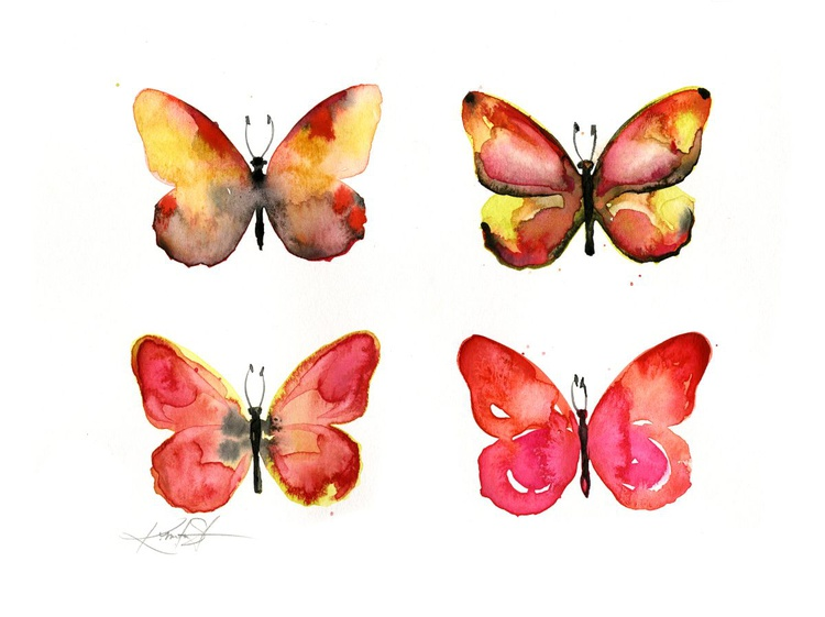 Four Butterflies 3 - Abstract Butterfly Watercolor Painting - Image 0