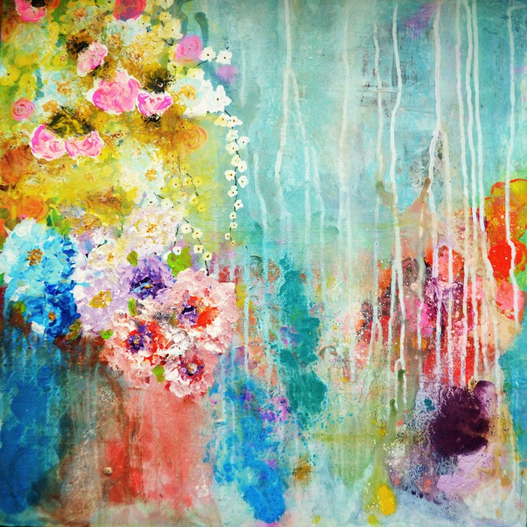 """""""Love is all around""""modern abstract floral painting blue pink yellow m - Image 0"""