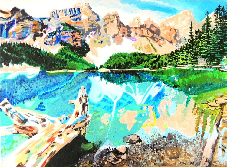 "24"" x 18"" Lake Nestled in Mountains Acrylic Painting 