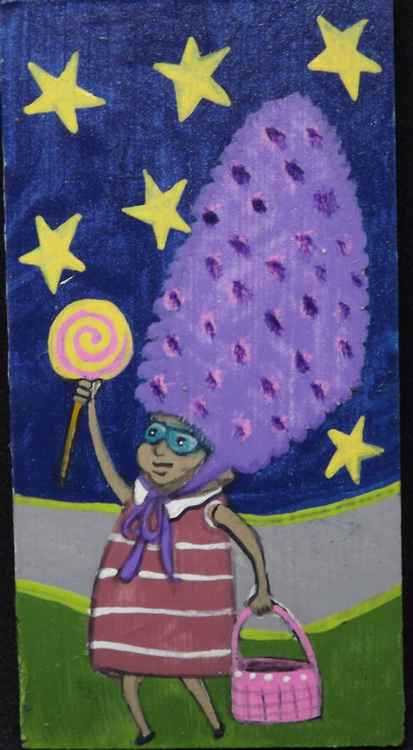 Lavender Hat Weirdie with Lollipop Original Painting on Wood -