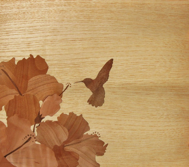 Marquetry motif.. Hummingbird and Hibiscus - Image 0