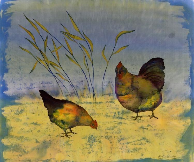 Chickens on Silk - Image 0