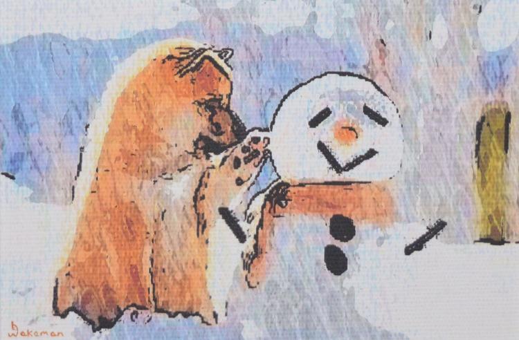 Puppy & Snowman - Image 0
