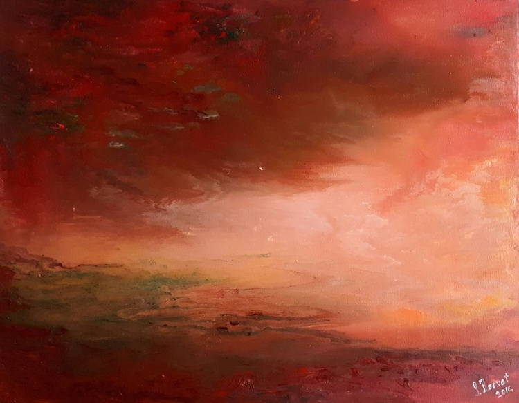 Martian storm - abstract landscape on stretched canvas, ready to hang, unique frothing technique, 50x40cm - Image 0