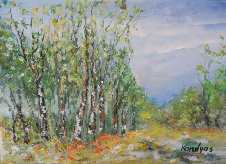 Summer landscape with birches -