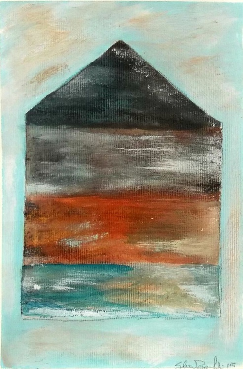 house in blue painting on paper - Image 0