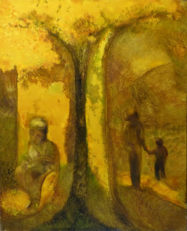 Reader In The Park, oil on canvas 100x81 cm, ready to hang - Image 0