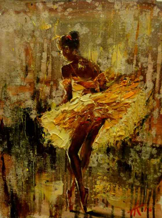 Ballerina, original oil painting 30x40 cm, ready to hang!