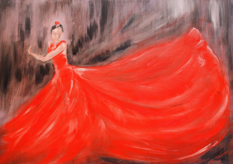 Lady in red - Image 0