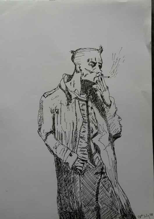 Man smoking with rain mac