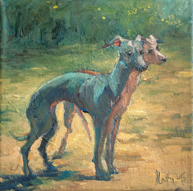 Greyhounds / 20 × 20 × 2 cm / READY TO HANG! - Image 0