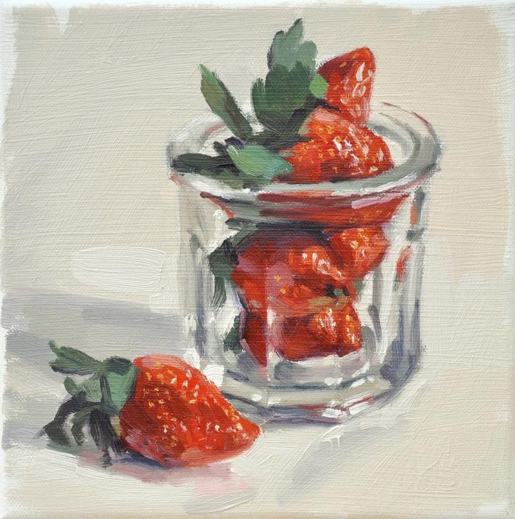 Strawberries in an old jam jar - Image 0
