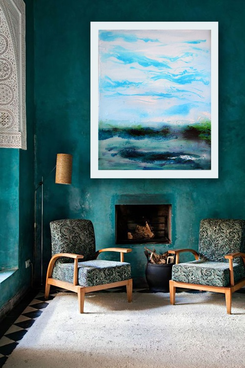 Blue Green Waters/ 60 cm x 45 cm. - Image 0