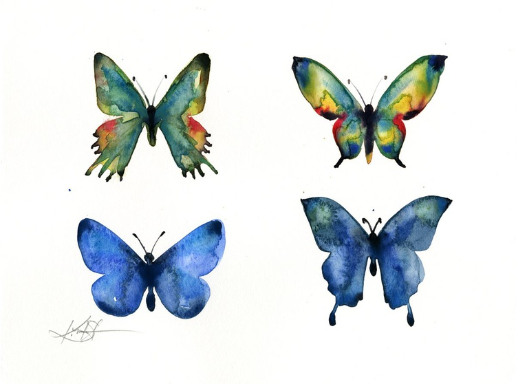 Four Butterflies 2 - Abstract Butterfly Watercolor Painting - Image 0